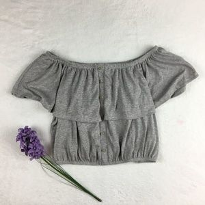 Tops - Gray Off shoulder ruffle stretchy button crop top